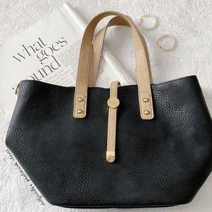 Black Tan & Gold Shoulder Bag